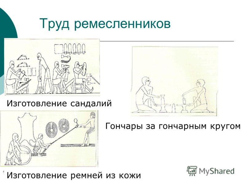 Труд ремесленников Изготовление сандалий Гончары за гончарным кругом Изготовление ремней из кожи 1