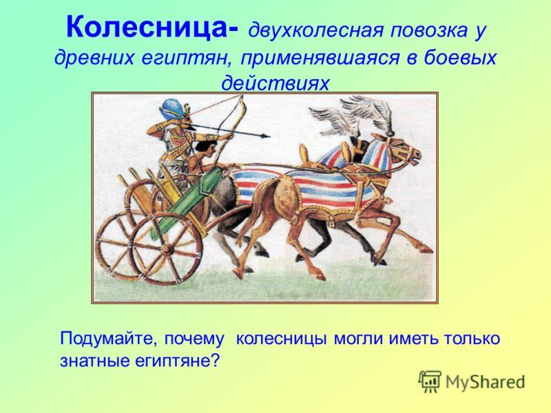 Колесница- двухколесная повозка у древних египтян, применявшаяся в боевых действиях Подумайте, почему колесницы могли иметь только знатные египтяне?