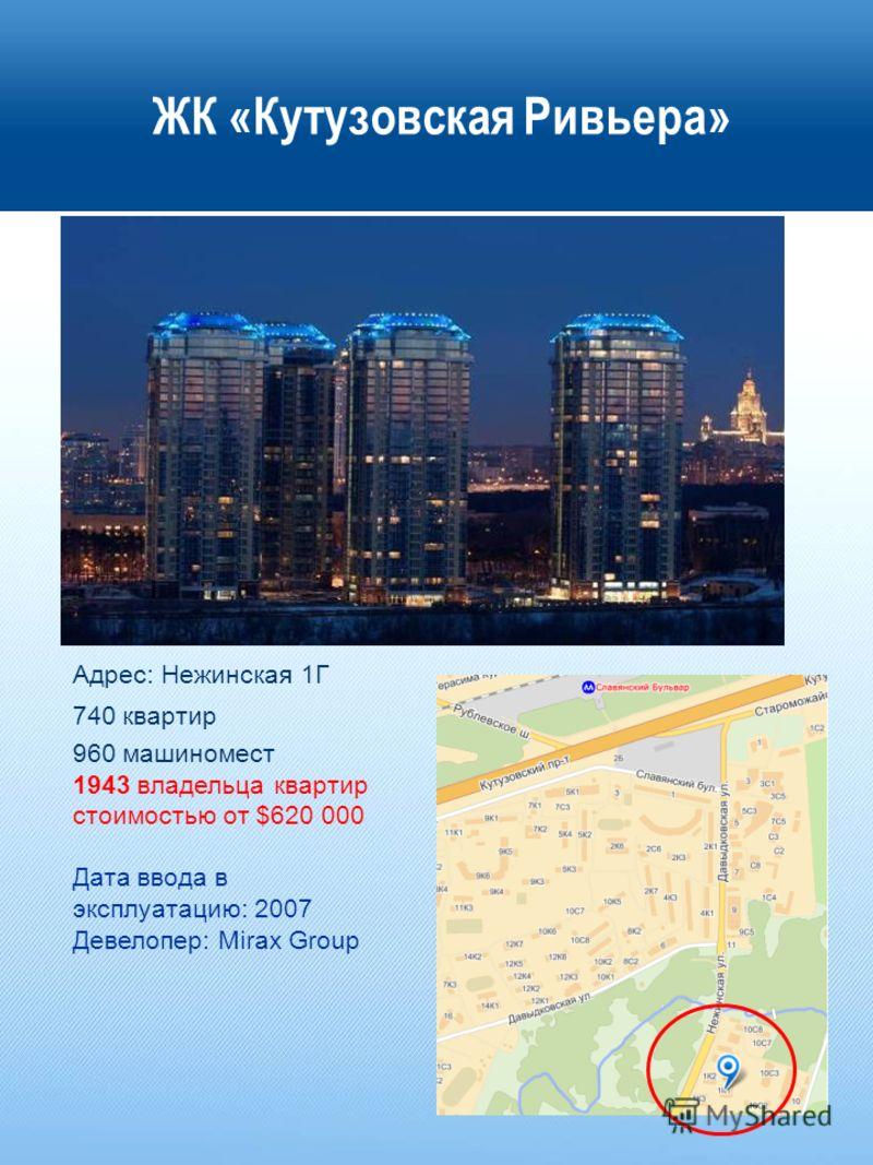 ЖК «Кутузовская Ривьера» Адрес: Нежинская 1Г 740 квартир 960 машиномест 1943 владельца квартир стоимостью от $620 000 Дата ввода в эксплуатацию: 2007 Девелопер: Mirax Group