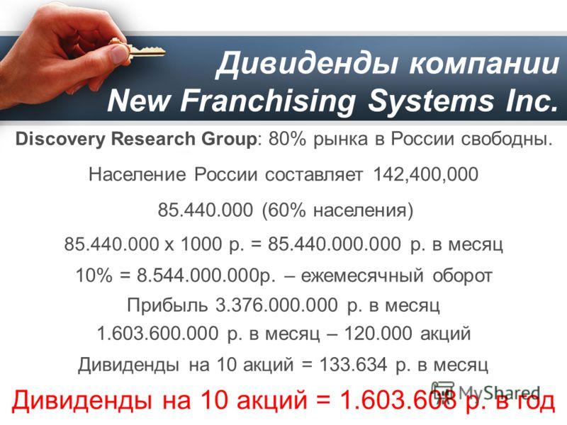 Дивиденды компании New Franchising Systems Inc. Discovery Research Group: 80% рынка в России свoбодны. Население России составляет 142,400,000 85.440.000 (60% населения) 85.440.000 х 1000 р. = 85.440.000.000 р. в месяц 10% = 8.544.000.000р. – ежемеся