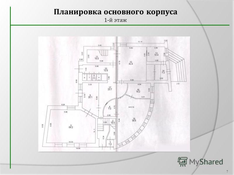 Планировка основного корпуса 1-й этаж 7