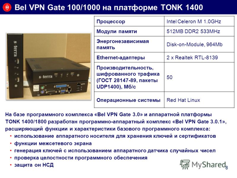Bel VPN Gate 100/1000 на платформе TONK 1400 8 На базе программного комплекса «Bel VPN Gate 3.0» и аппаратной платформы TONK 1400/1800 разработан программно-аппаратный комплекс «Bel VPN Gate 3.0.1», расширяющий функции и характеристики базового прогр