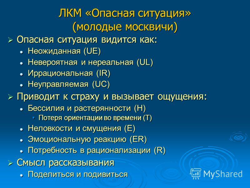 ЛКМ «Опасная ситуация» (молодые москвичи) Опасная ситуация видится как: Опасная ситуация видится как: Неожиданная (UE) Неожиданная (UE) Невероятная и нереальная (UL) Невероятная и нереальная (UL) Иррациональная (IR) Иррациональная (IR) Неуправляемая