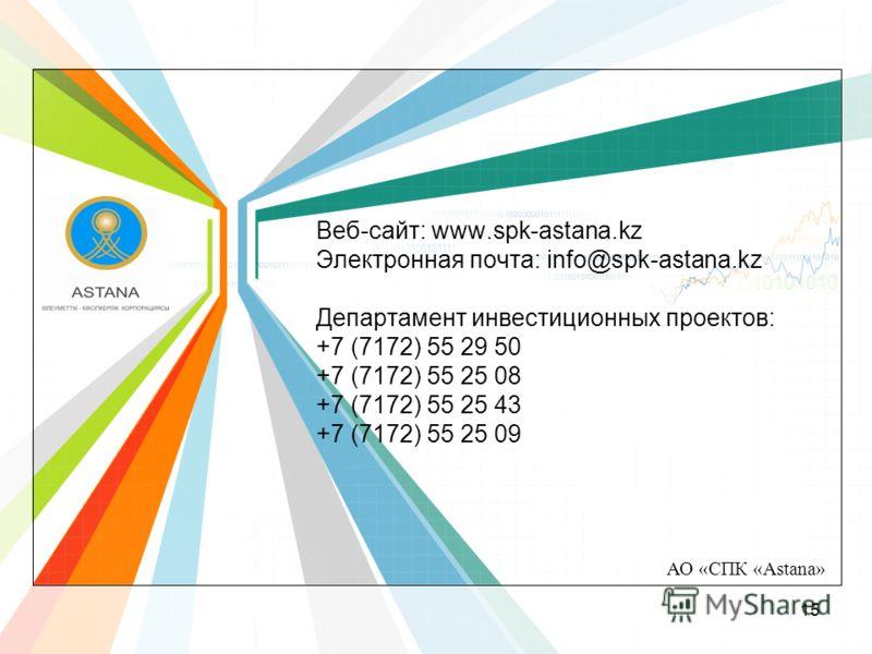 АО «СПК «Astana» Веб-сайт: www.spk-astana.kz Электронная почта: info@spk-astana.kz Департамент инвестиционных проектов: +7 (7172) 55 29 50 +7 (7172) 55 25 08 +7 (7172) 55 25 43 +7 (7172) 55 25 09 15