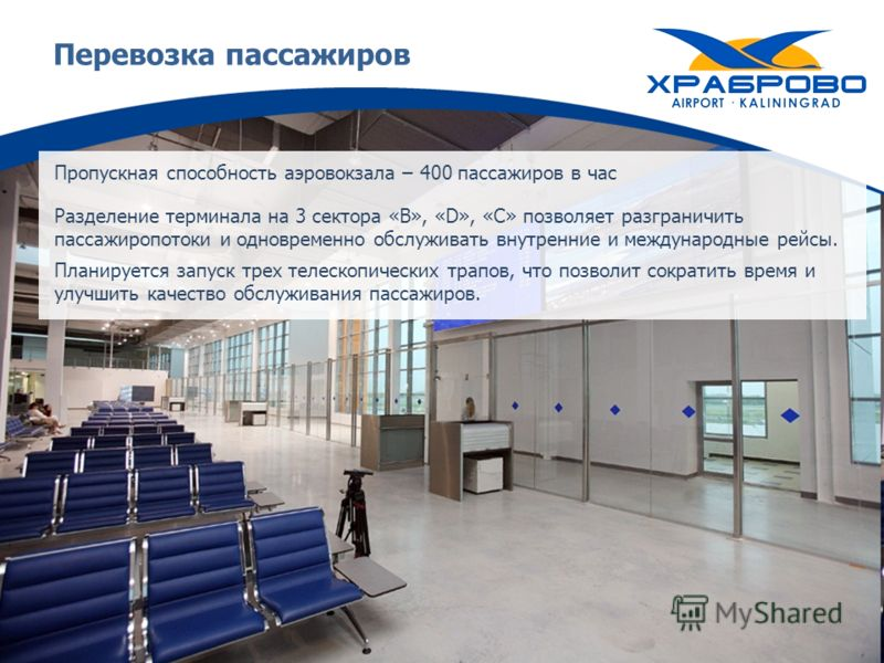 Перевозка пассажиров Пропускная способность аэровокзала – 400 пассажиров в час Разделение терминала на 3 сектора «B», «D», «C» позволяет разграничить пассажиропотоки и одновременно обслуживать внутренние и международные рейсы. Планируется запуск трех
