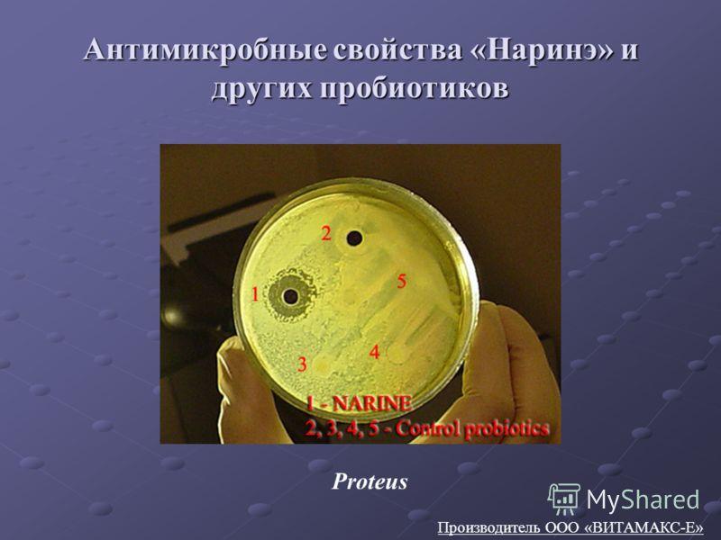 Антимикробные свойства «Наринэ» и других пробиотиков Производитель ООО «ВИТАМАКС-Е» Proteus