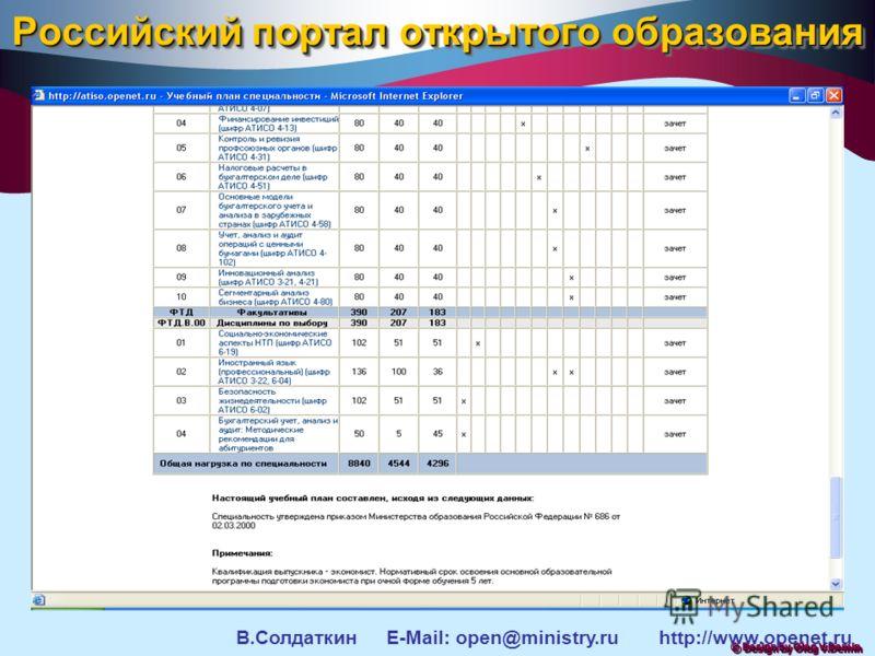 © Design by Oleg V.Demin Российский портал открытого образования В.Солдаткин E-Mail: open@ministry.ru http://www.openet.ru