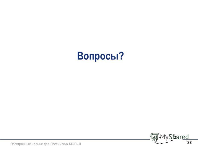 Электронные навыки для Российских МСП - II 28 Вопросы?