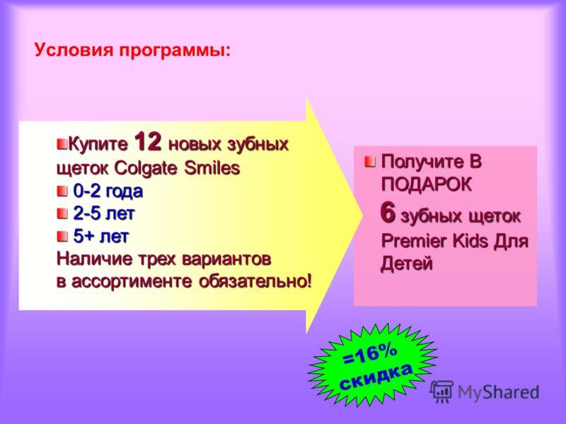 Условия программы: Получите В ПОДАРОК 6 зубных щеток 6 зубных щеток Premier Kids Для Детей Купите 12 новых зубных щеток Colgate Smiles 0-2 года 0-2 года 2-5 лет 2-5 лет 5+ лет 5+ лет Наличие трех вариантов в ассортименте обязательно! =16% скидка