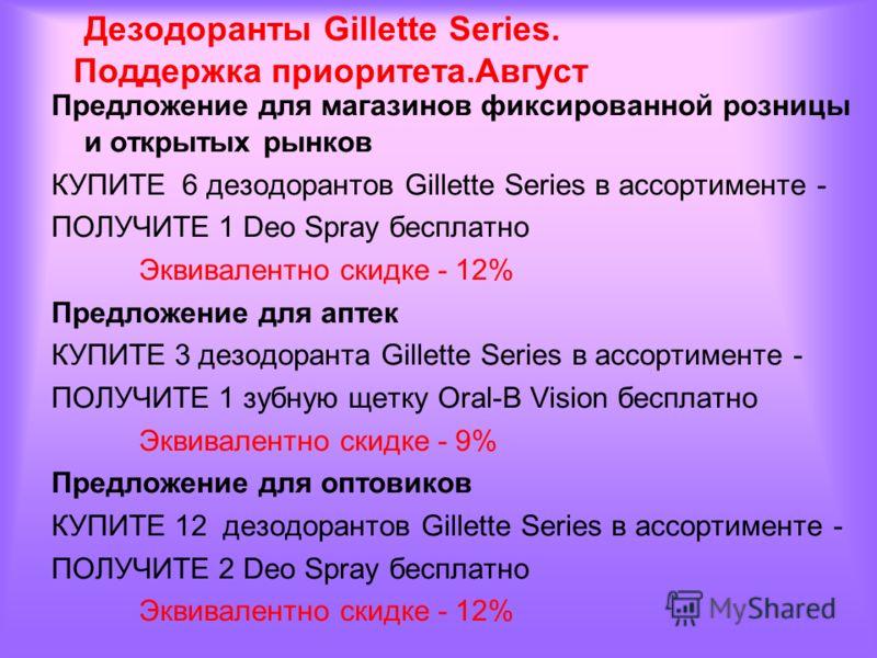 Предложение для магазинов фиксированной розницы и открытых рынков КУПИТЕ 6 дезодорантов Gillette Series в ассортименте - ПОЛУЧИТЕ 1 Deo Spray бесплатно Эквивалентно скидке - 12% Предложение для аптек КУПИТЕ 3 дезодоранта Gillette Series в ассортимент