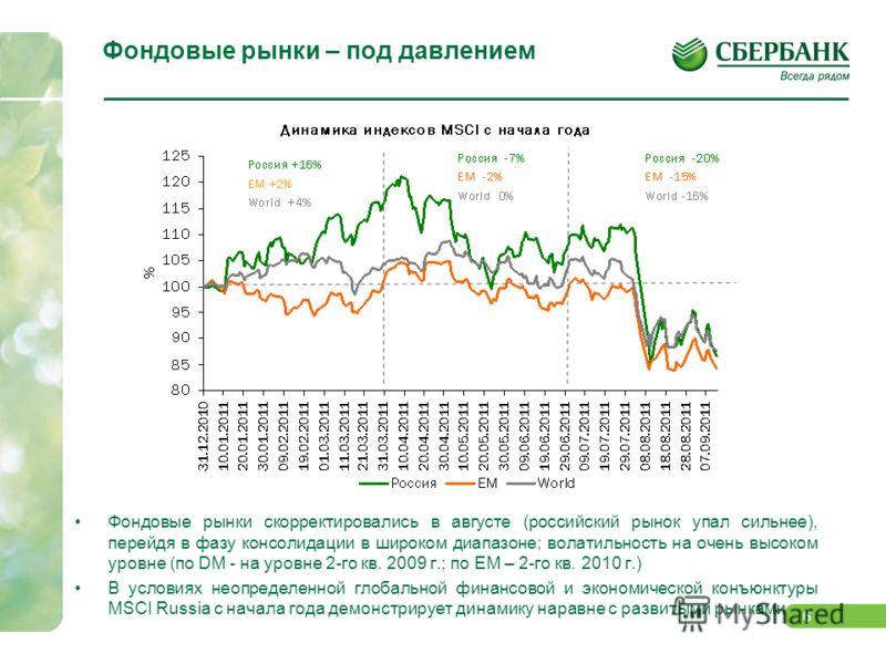 5 Отток средств из фондов акций ЕМ продолжился На фоне отсутствия фундаментального и конъюнктурного позитива с августа возобновился отток капиталов из фондов, работающих с ЕМ. Не избежал этой тенденции и российский рынок акций