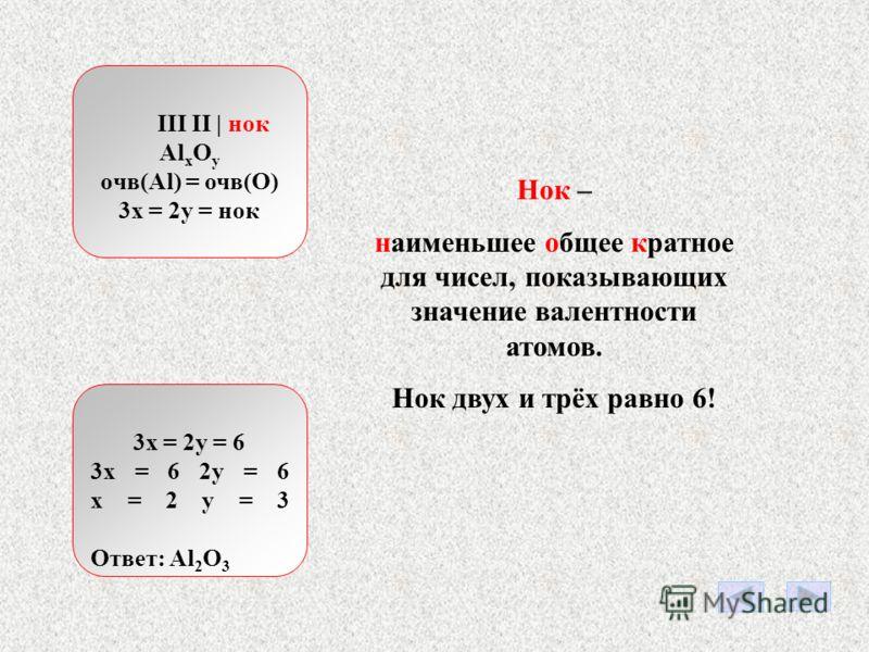 OO O Пусть в какой-то молекуле содержится три атома кислорода. Каждый атом кислорода может образовать две химические связи. Всего три атома кислорода могут образовать 3*2=6 химических связей. очв = индекс * валентность