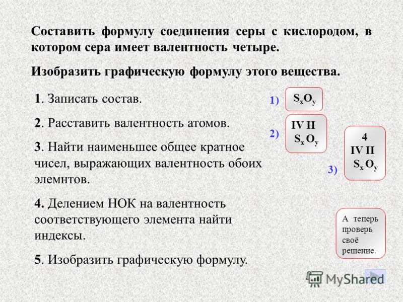 III II | нок Al x O y oчв(Аl) = очв(О) 3x = 2y = нок Нок – наименьшее общее кратное для чисел, показывающих значение валентности атомов. Нок двух и трёх равно 6! 3x = 2y = 6 3x = 6 2y = 6 x = 2 y = 3 Ответ: Al 2 O 3