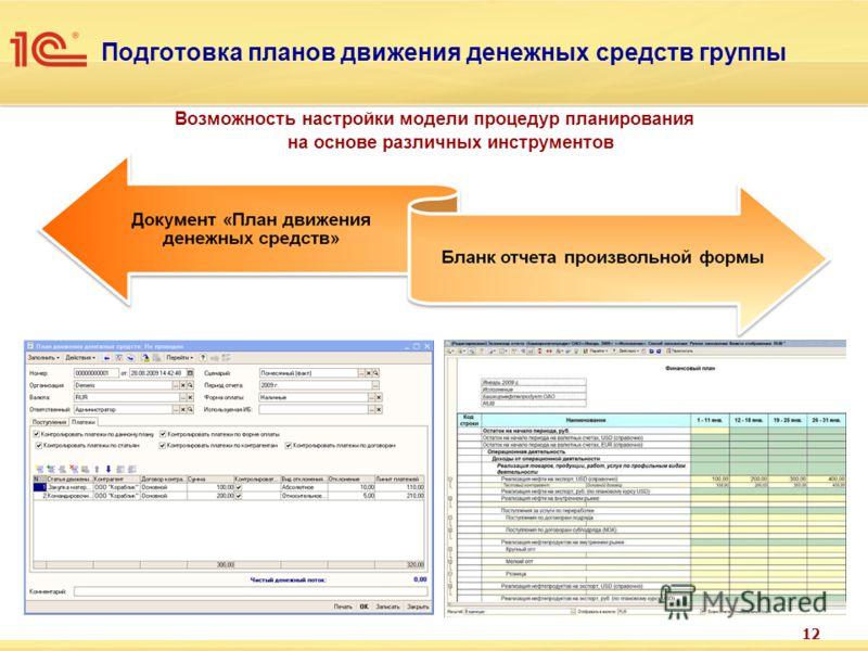 12 Подготовка планов движения денежных средств группы Возможность настройки модели процедур планирования на основе различных инструментов