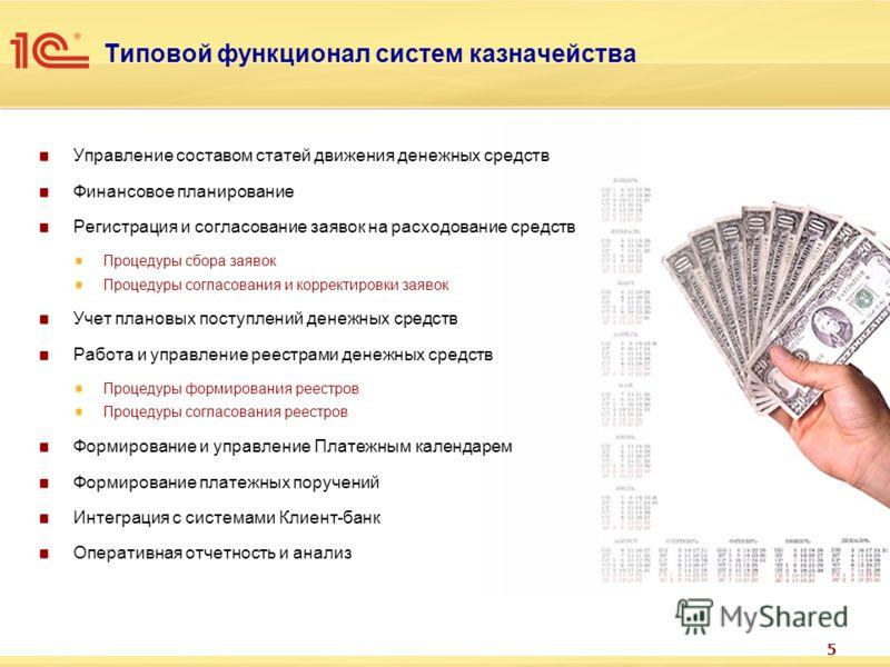 5 Типовой функционал систем казначейства Управление составом статей движения денежных средств Финансовое планирование Регистрация и согласование заявок на расходование средств Процедуры сбора заявок Процедуры согласования и корректировки заявок Учет