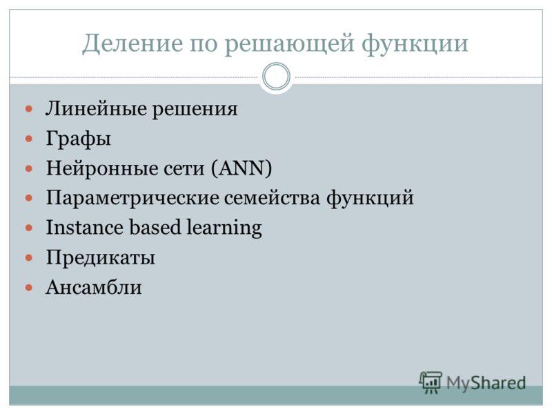 Деление по решающей функции Линейные решения Графы Нейронные сети (ANN) Параметрические семейства функций Instance based learning Предикаты Ансамбли
