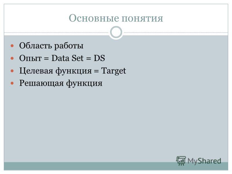 Основные понятия Область работы Опыт = Data Set = DS Целевая функция = Target Решающая функция