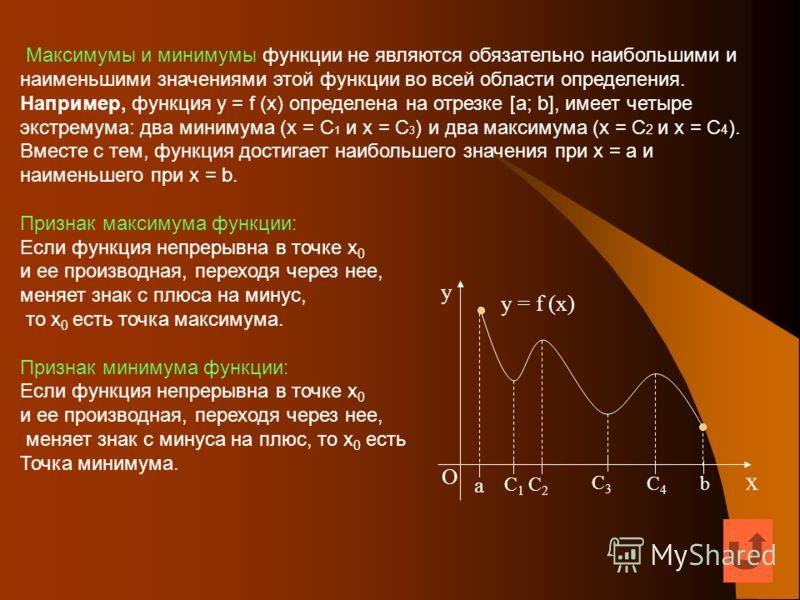 Максимумы и минимумы функции не являются обязательно наибольшими и наименьшими значениями этой функции во всей области определения. Например, функция y = f (x) определена на отрезке [a; b], имеет четыре экстремума: два минимума (x = C 1 и x = C 3 ) и