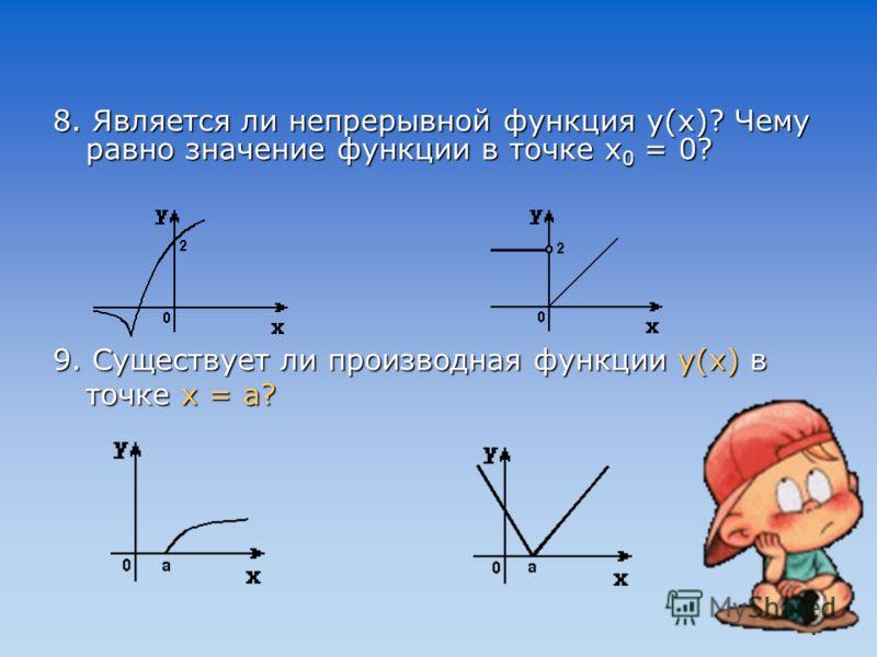 1. Переменная величина, значение которой зависит от изменения другой величины… (функция) 2. Производная от координаты по времени есть … (скорость) 3. Вид числового промежутка… (интервал) 4. Пример функции непрерывной, но не дифференцируемой в данной