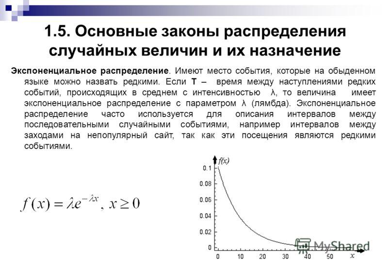1.5. Основные законы распределения случайных величин и их назначение Экспоненциальное распределение. Имеют место события, которые на обыденном языке можно назвать редкими. Если T – время между наступлениями редких событий, происходящих в среднем с ин
