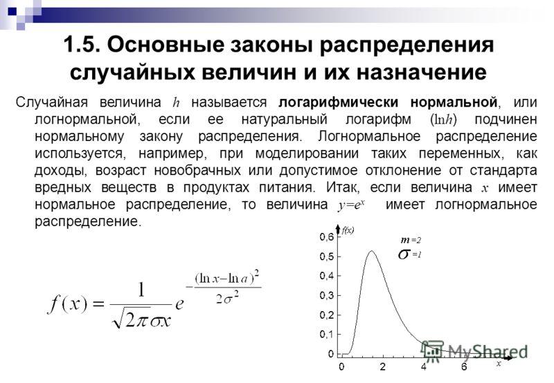 1.5. Основные законы распределения случайных величин и их назначение Случайная величина h называется логарифмически нормальной, или логнормальной, если ее натуральный логарифм ( lnh ) подчинен нормальному закону распределения. Логнормальное распредел