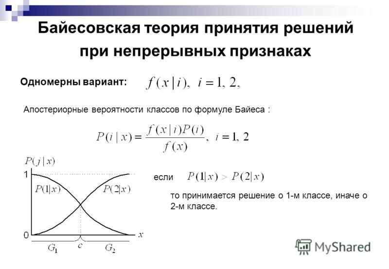Байесовская теория принятия решений при непрерывных признаках Одномерны вариант: Апостериорные вероятности классов по формуле Байеса : если то принимается решение о 1-м классе, иначе о 2-м классе.