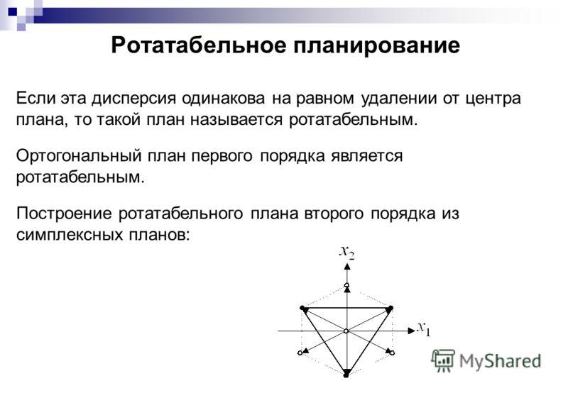 Ротатабельное планирование Если эта дисперсия одинакова на равном удалении от центра плана, то такой план называется ротатабельным. Ортогональный план первого порядка является ротатабельным. Построение ротатабельного плана второго порядка из симплекс