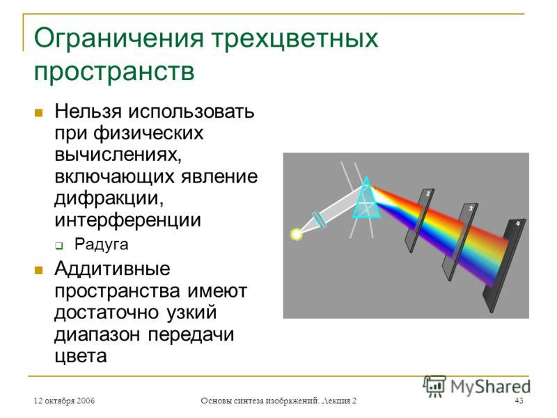 12 октября 2006 Основы синтеза изображений. Лекция 2 43 Ограничения трехцветных пространств Нельзя использовать при физических вычислениях, включающих явление дифракции, интерференции Радуга Аддитивные пространства имеют достаточно узкий диапазон пер