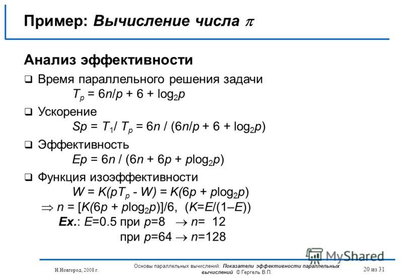 Н.Новгород, 2008 г. Основы параллельных вычислений: Показатели эффективности параллельных вычислений © Гергель В.П. 20 из 31 Пример: Вычисление числа Анализ эффективности Время параллельного решения задачи T p = 6n/p + 6 + log 2 p Ускорение Sp = T 1