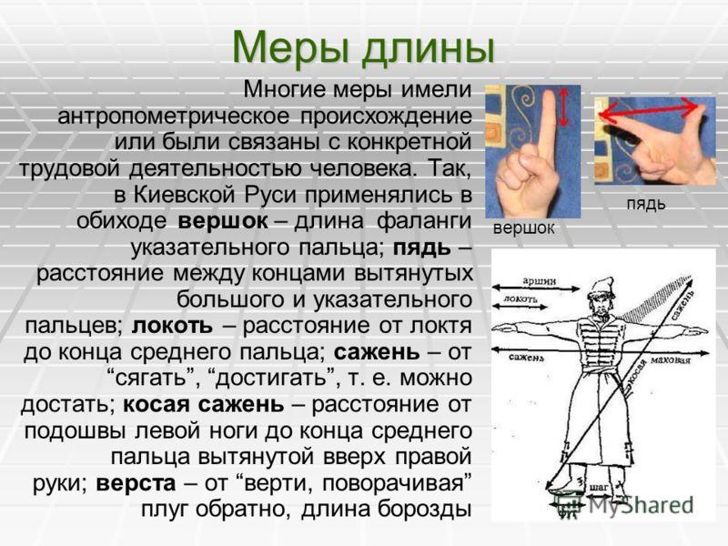 Меры длины Многие меры имели антропометрическое происхождение или были связаны с конкретной трудовой деятельностью человека. Так, в Киевской Руси применялись в обиходе вершок – длина фаланги указательного пальца; пядь – расстояние между концами вытян