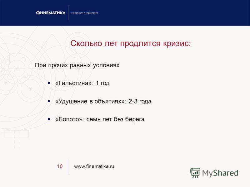 www.finematika.ru10 Сколько лет продлится кризис: При прочих равных условиях «Гильотина»: 1 год «Удушение в объятиях»: 2-3 года «Болото»: семь лет без берега