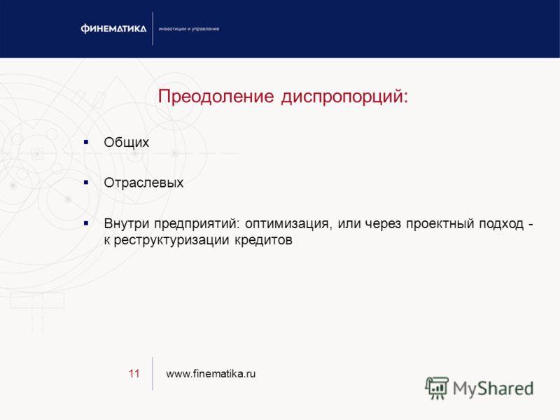 www.finematika.ru11 Преодоление диспропорций: Общих Отраслевых Внутри предприятий: оптимизация, или через проектный подход - к реструктуризации кредитов