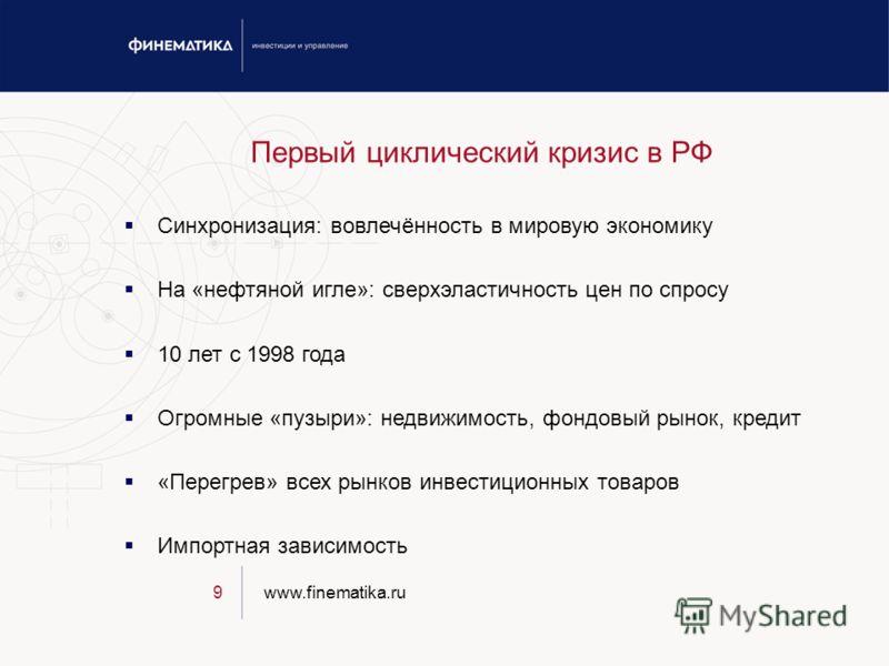 www.finematika.ru9 Первый циклический кризис в РФ Синхронизация: вовлечённость в мировую экономику На «нефтяной игле»: сверхэластичность цен по спросу 10 лет с 1998 года Огромные «пузыри»: недвижимость, фондовый рынок, кредит «Перегрев» всех рынков и