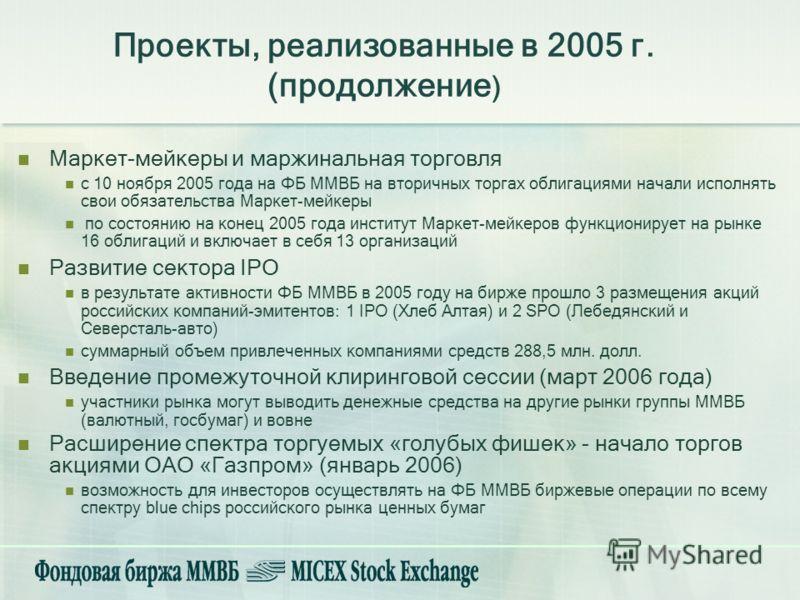Маркет-мейкеры и маржинальная торговля с 10 ноября 2005 года на ФБ ММВБ на вторичных торгах облигациями начали исполнять свои обязательства Маркет-мейкеры по состоянию на конец 2005 года институт Маркет-мейкеров функционирует на рынке 16 облигаций и