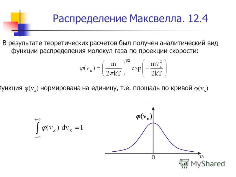 Распределение Максвелла. 12.4 В результате теоретических расчетов был получен аналитический вид функции распределения молекул газа по проекции скорости: Функция φ(v х ) нормирована на единицу, т.е. площадь по кривой φ(v х )