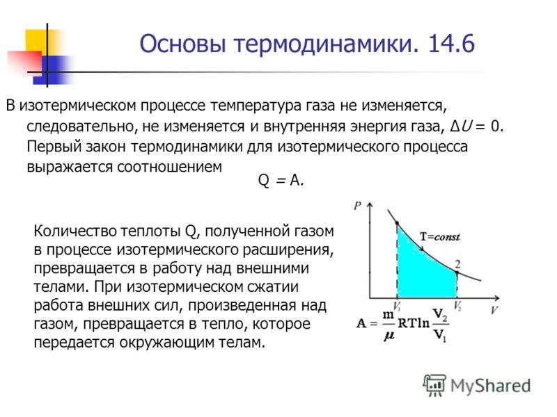 Основы термодинамики. 14.6 В изотермическом процессе температура газа не изменяется, следовательно, не изменяется и внутренняя энергия газа, ΔU = 0. Первый закон термодинамики для изотермического процесса выражается соотношением Q = A. Количество теп