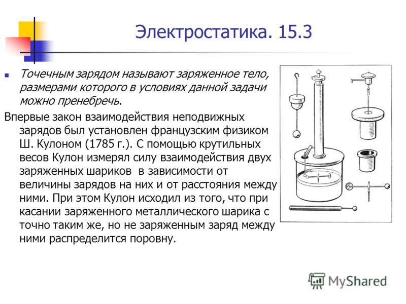Электростатика. 15.3 Точечным зарядом называют заряженное тело, размерами которого в условиях данной задачи можно пренебречь. Впервые закон взаимодействия неподвижных зарядов был установлен французским физиком Ш. Кулоном (1785 г.). С помощью крутильн