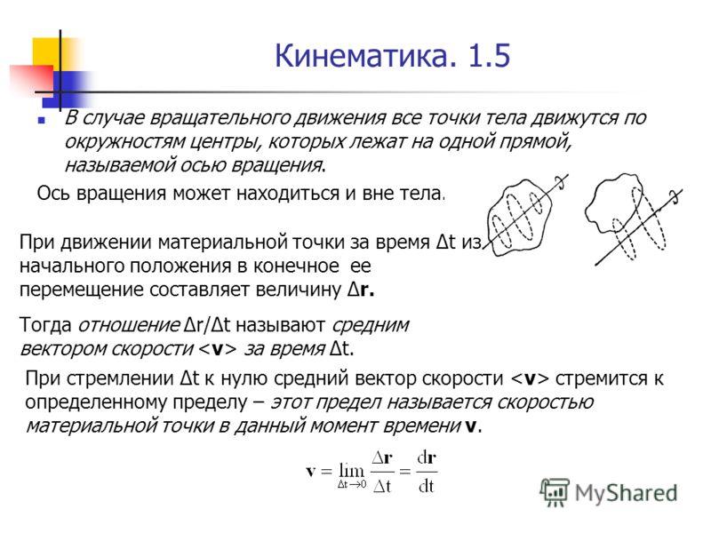 Кинематика. 1.5 В случае вращательного движения все точки тела движутся по окружностям центры, которых лежат на одной прямой, называемой осью вращения. Ось вращения может находиться и вне тела. При движении материальной точки за время Δt из начальног
