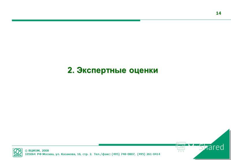 © ВЦИОМ, 2008 105064 РФ Москва, ул. Казакова, 16, стр. 2. Тел./факс: (495) 748-0807, (495) 261-0414 14 2. Экспертные оценки
