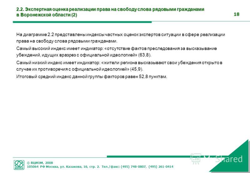 © ВЦИОМ, 2008 105064 РФ Москва, ул. Казакова, 16, стр. 2. Тел./факс: (495) 748-0807, (495) 261-0414 18 2.2. Экспертная оценка реализации права на свободу слова рядовыми гражданами в Воронежской области (2) На диаграмме 2.2 представлены индексы частны