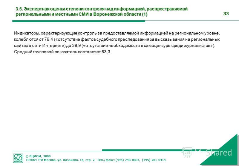 © ВЦИОМ, 2008 105064 РФ Москва, ул. Казакова, 16, стр. 2. Тел./факс: (495) 748-0807, (495) 261-0414 33 3.5. Экспертная оценка степени контроля над информацией, распространяемой региональными и местными СМИ в Воронежской области (1) Индикаторы, характ