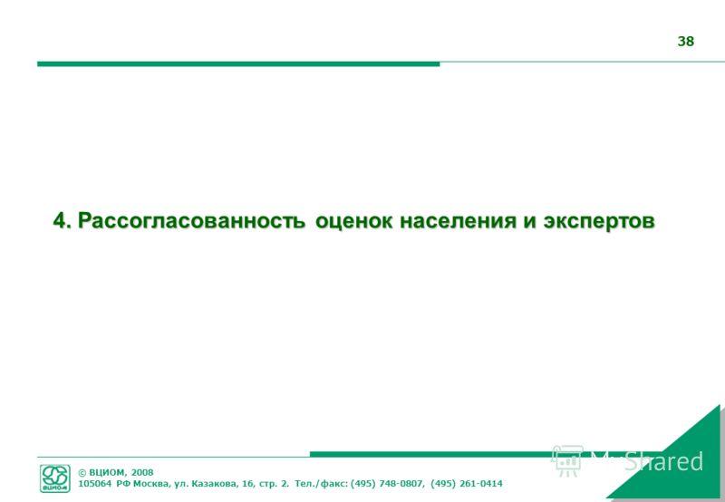 © ВЦИОМ, 2008 105064 РФ Москва, ул. Казакова, 16, стр. 2. Тел./факс: (495) 748-0807, (495) 261-0414 38 4. Рассогласованность оценок населения и экспертов
