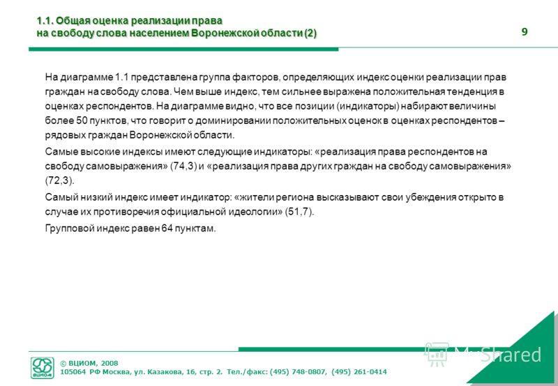 © ВЦИОМ, 2008 105064 РФ Москва, ул. Казакова, 16, стр. 2. Тел./факс: (495) 748-0807, (495) 261-0414 9 На диаграмме 1.1 представлена группа факторов, определяющих индекс оценки реализации прав граждан на свободу слова. Чем выше индекс, тем сильнее выр