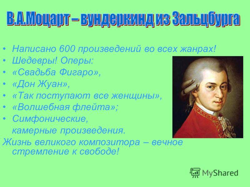 Написано 600 произведений во всех жанрах! Шедевры! Оперы: «Свадьба Фигаро», «Дон Жуан», «Так поступают все женщины», «Волшебная флейта»; Симфонические, камерные произведения. Жизнь великого композитора – вечное стремление к свободе!