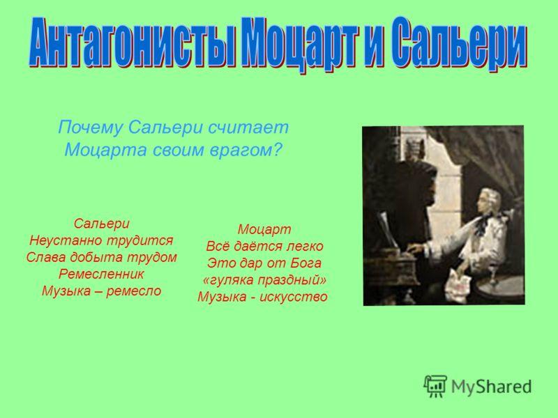 Моцарт Всё даётся легко Это дар от Бога «гуляка праздный» Музыка - искусство Почему Сальери считает Моцарта своим врагом? Сальери Неустанно трудится Слава добыта трудом Ремесленник Музыка – ремесло
