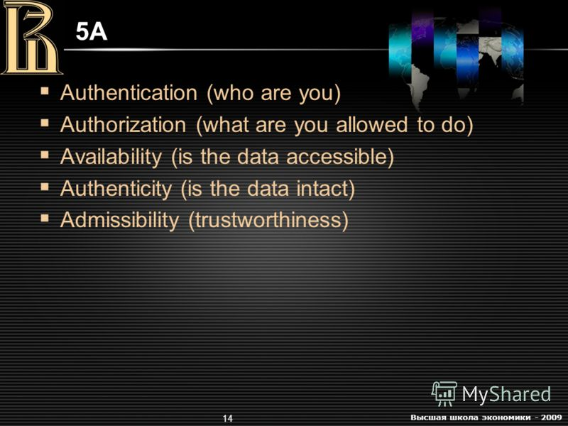 Высшая школа экономики - 2009 14 5A5A Authentication (who are you) Authorization (what are you allowed to do) Availability (is the data accessible) Authenticity (is the data intact) Admissibility (trustworthiness)