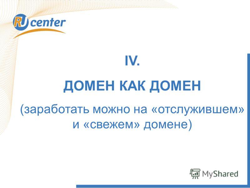 IV. ДОМЕН КАК ДОМЕН (заработать можно на «отслужившем» и «свежем» домене)