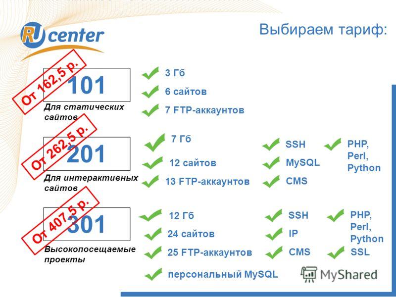 Как выбрать Тариф? 101 3 Гб6 сайтов7 FTP-аккаунтов Для статических сайтов 201 Для интерактивных сайтов 7 Гб 12 сайтов13 FTP-аккаунтовSSH MySQLCMS PHP, Perl, Python 301 Высокопосещаемые проекты 12 Гб 24 сайтов25 FTP-аккаунтовSSH IPCMS PHP, Perl, Pytho