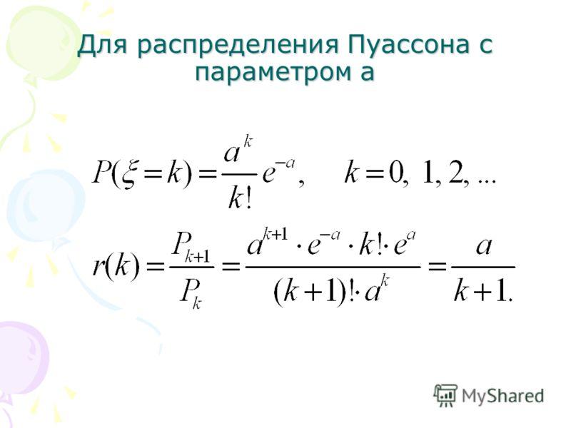 Для распределения Пуассона с параметром a