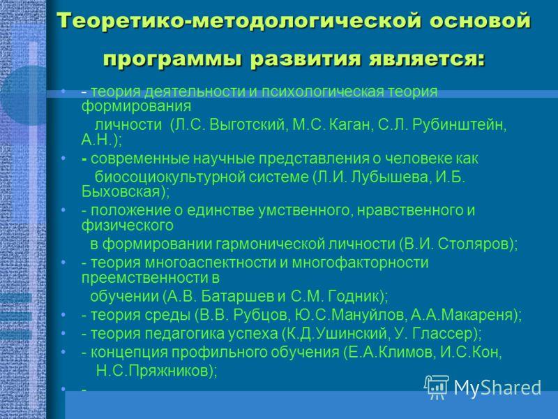 Теоретико-методологической основой программы развития является: - теория деятельности и психологическая теория формирования личности (Л.С. Выготский, М.С. Каган, С.Л. Рубинштейн, А.Н.); - современные научные представления о человеке как биосоциокульт
